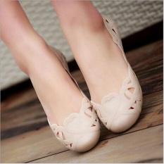 George Store Hot Jual Fashion Wanita Kasual Flats Sepatu Crystal Jelly Hollow Slip-On Sandal Flip Flops Apricot- INTL