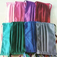 ( GET 5 PCS) Masker kain / Masker hijab jilbab tali panjang bahan Oxford - Random Warna