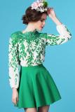 Spesifikasi Getek Wanita Musim Panas Musim Semi Gaya Eropa Kain Sutera Tipis Renda Bordir Kain Perca Pola Lengan Baju Panjang Daun Panjang Tanpa Bahu Dicungkil Blous M Xl Hijau Internasional Lengkap