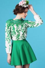 Review Getek Wanita Musim Panas Musim Semi Gaya Eropa Kain Sutera Tipis Renda Bordir Kain Perca Pola Lengan Baju Panjang Daun Panjang Tanpa Bahu Dicungkil Blous M Xl Hijau Internasional Getek