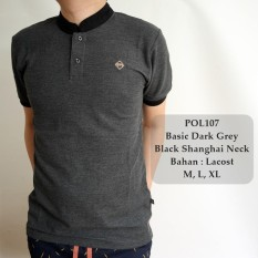 Review Gfs Kaos Berkerah Polo Cowok Basic Dark Grey Black Shanghai Neck 107