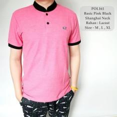 GFS Kaos Berkerah Polo Cowok Basic Pink Black Shanghai Neck Distro - 161