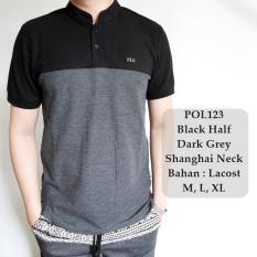 GFS Kaos Berkerah Polo Cowok Gaul Black Half Dark Grey Shanghai Neck- 123