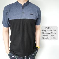 GFS Kaos Berkerah Polo Shirt Cowok Navy Half Black Shanghai Neck Hits- 164