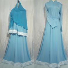 Ghaida Collection Set Dress List Brukat Soft Blue Diskon Indonesia