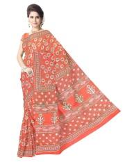 Hadiah Piper Cotton Red Bagru Cetak Sarees (Panjang: 5.5 MTR)-Intl