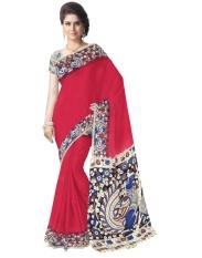 Hadiah Piper Cotton Red Kalamkari Sarees (Panjang: 5.5 MTR)-Intl