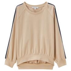 Giordano Mantra Warna Lengan Raglan Pullover Kaos Sweater (01 Coklat Muda)