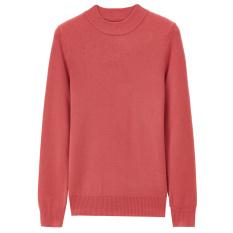 Giordano Katun Elastis Perempuan Pullover Pakaian Sweater Slim Kemeja Rajut (34 Layu Mawar Merah)