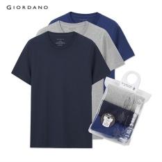 Giordano Pria Esensial Dasar Tees (3-pack) 01245504 Berwarna Abu-abu/biru Tua/biru-Intl