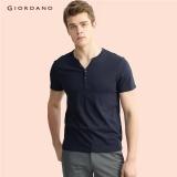 Spesifikasi Giordano Pria Setengah Bukaan Depan T Shirt 13027216 Signature Navy Blue Intl Yang Bagus