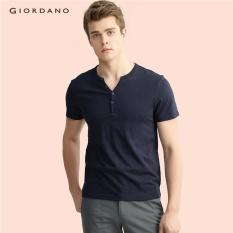 Toko Giordano Pria Setengah Bukaan Depan T Shirt 13027216 Signature Navy Blue Intl Giordano