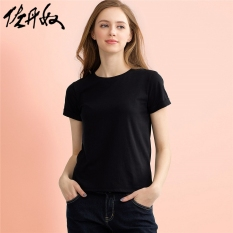 Giordano Kaos Kaos Katun Pakaian Wanita Leher Bulat (01 Logo Hitam)