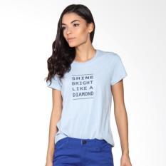 Giordano Slogan Rib Crew Tee Melange Acid Atasan Wanita - Blue Off