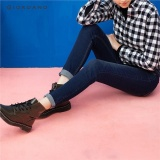Promo Giordano Wanita Whiskered Mid Rise Skinny Jeans 05416027 Dark Blue