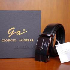Giorgio Agnelli Belt Original - Ikat Pinggang Kulit Fashion Pria - Coklat Tua - Kulit Asli - GA-007 Black