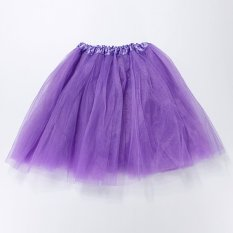 Gadis Wanita Dewasa Elastis Tutu Balet Rok Stretchy Bridesmaid Pesta Bola Tulle Dress Darl Ungu-Intl