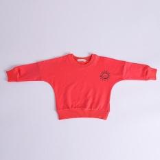 Gadis Musim Gugur Eropa dan Amerika Matahari Cetak Panjang-Sleeved Kaus-Merah-Internasional