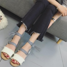 Girlhood Korea Korea Fashion Cross Tali Sandal-Putih-Intl