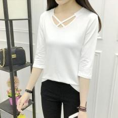 Girlhood Gaya Korea Warna Solid T-shirt-Putih-Intl