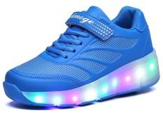 Girls Boys Glint Light Up Roda Anak-Anak Sepatu Roller Roller Skates Sneakers (biru)-Intl By Casual Fashion.