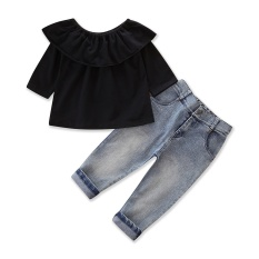 Girls Clothing Sets Cotton Black half sleeve Tops+cowboy Pants Baby Girl Clothes pocket Jeans 2pcs Teenager Kids Suit for 2-7Y - intl