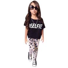 Set Pakaian Anak Perempuan Kaos + Pants Motif Bunga-internasional-Internasional