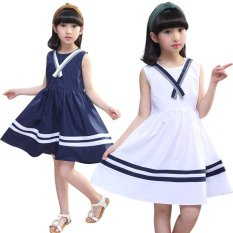 Toko Gadis Gaun Kapas Striped Kids Putri Gaun Untuk Gadis Sundress Preppy Style Anak Pesta Pakaian Putih Intl Online Di Tiongkok