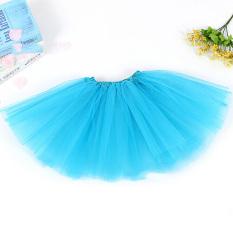 Anak Perempuan Tutu Rok Pesta Balet Dansa Pakaian Princess Dress Pettiskirt Kostum Biru Muda-Internasional