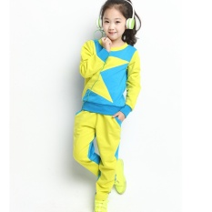 Girls Korean Sports Set, Five Pointed Star, Two Sets ,Children's Contrast Color School Uniforms,polor Shirt(blue&yellow) - intl