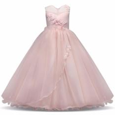 Girls Merah Muda Putri Gaun untuk Formal Pesta Remaja Show Costume Natal Panjang Pesta Malam Gaun Anak-Pink-Intl