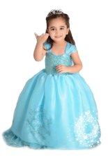 Gadis Gaun Putri Kostum Pesta Pernikahan Anak Memakai Baju Biru