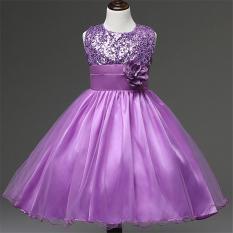 Gadis Tanpa Lengan Gaun Anak Pesta Putri Bunga Gadis Gaun L16006 (Ungu)