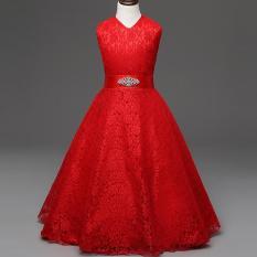 Toko Gadis Tanpa Lengan Gaun Musim Panas Besar Gadis Anak Pesta Putri Bunga Gadis Gaun Renda Dress L16092 Merah Intl Oem Online