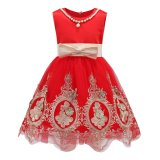 Spek Gadis Tanpa Lengan Gaun Musim Panas Anak Partai Putri Anak Perempuan Renda Gaun A Line Bordir Bunga Gaun L17180 Merah Intl