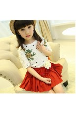 Toko Girls Memakai Kasual 2 Pcs Dress Set Floral Printed Atas Dan Pendek Gaun Merah Ekspor Intl Intl Yang Bisa Kredit