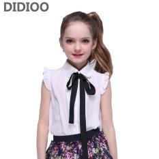 Review Girls White Kemeja Dengan Tie Sleeveless Chiffon Blus Untuk Gadis Anak Pakaian Musim Panas 2017 Teenage Kids Tops Siswa Sekolah Seragam Intl Di Tiongkok