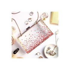 Glass clutch / acrylic clutch / tas pesta list besi katalog Love