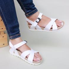 Beli Glebova Sandal Platform Wedges Strappy Cross Putih Pakai Kartu Kredit