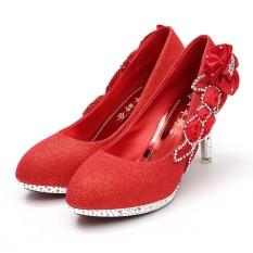 Berkilau Vogue Renda Bunga-bunga Kristal Tinggi Tumit Pernikahan Pengantin Tarian Sepatu Pesta-Internasional