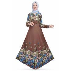 Review Glm Gamis Maxi Dress Gamis Etnik Flowery Coklat Di Banten
