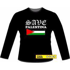 Beli Glohij Kaos Dakwah Lengan Panjang Save Palestina Bendera Murah
