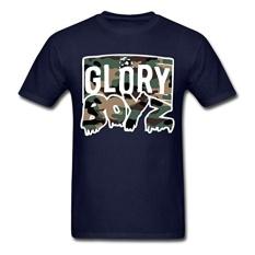 Glory Boyz Camo Logo T-Shirt Pria T-Shirt Desain Dasar Top Unisex LEBIH UKURAN dan Warna T Shirt Pria Musim Panas Kreatif (Navy Biru) -Intl