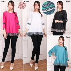Glow Fashion Atasan Blouse Kemeja Tunik Wanita Jumbo Shirt Blus Long Tunik Wulandari Tosca Asli