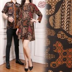 Glow fashion Couple batik dress maxi pendek atasan blouse long tunik wanita mini dress dan atasan kemeja pria shirt Elisabeth M - XL