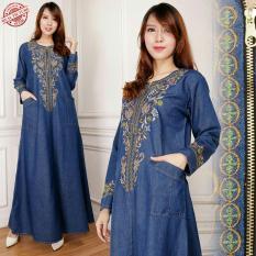 Glow Fashion Dress jeans maxi panjang gamis kaftan wanita jumbo long dress  Aurel