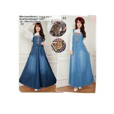 Glow fashion Dress overall jeans panjang wanita jumbo long dress jumpsuit Vinny - 02