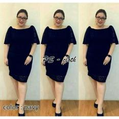 Glr@  Jumbo Michel Navy Mat Dress Wanita Big Size Midi Dress Besar Ori - 2Cbpuz