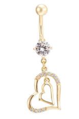 Perhiasan Warna Emas With Manik-manik Berbentuk Kristal Putih dari Berlian Imitasi Yang Dipasang Menjuntai Di Sekitar Pusar