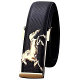 Gold Horse Leisure Leather Strap Business Men S Belt Metal Buckles Belt Black Int One Size Intl Oem Diskon 50